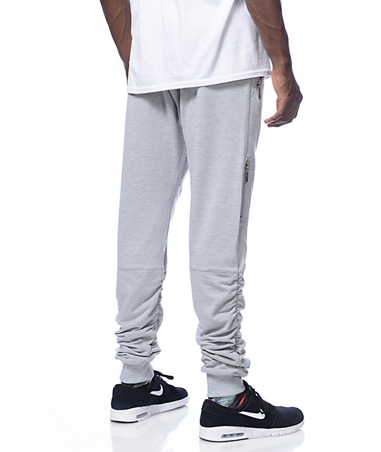 American Stitch Grey Terry Side Zip Bungee Jogger Pants