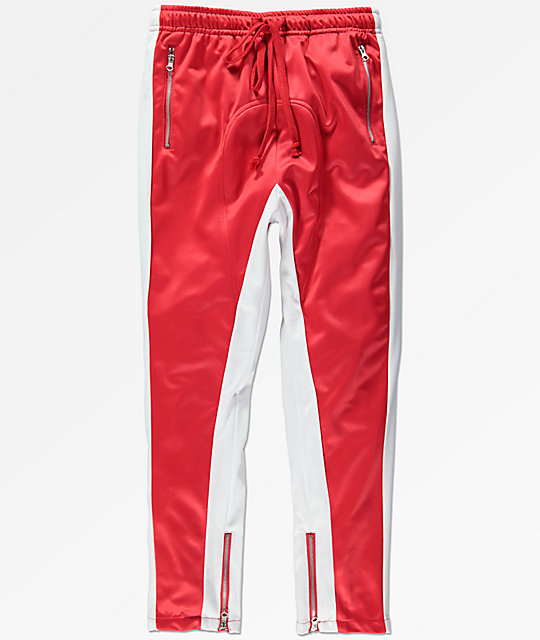American Stitch Red & White Tricot Track Pants