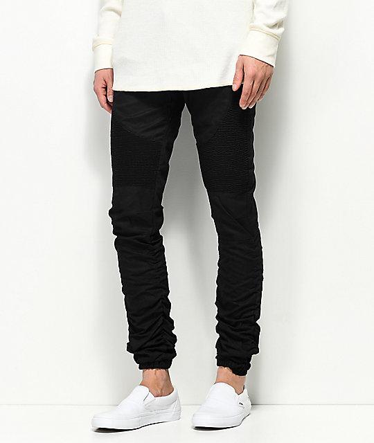 364c3d7b521b24 American Stitch Three Zip Black Moto Twill Bungee Jogger Pants