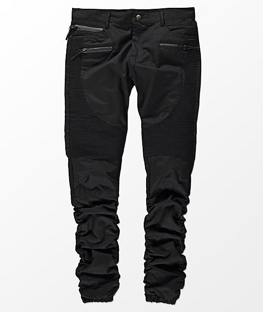 American Stitch Three Zip Black Moto Twill Bungee Jogger Pants