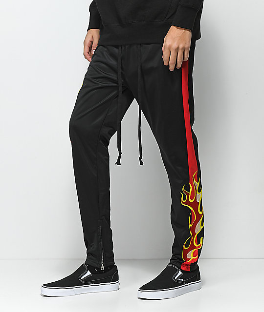 American Stitch Tricot Flame Black & Red Track Pants