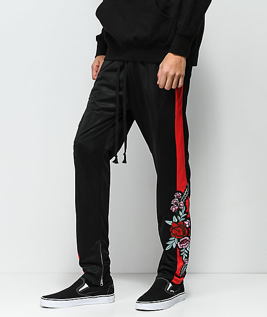 American Stitch Tricot Rose Black & Red Track Pants ...