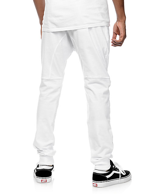 American Stitch White Knit Moto Zip Jogger Pants