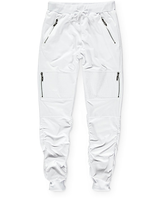 American Stitch White Terry Side Zip Bungee Jogger Pants ...