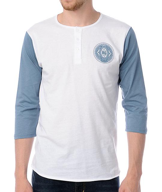 a596fced9b2a Analog Slider White   Blue Henley Baseball T-Shirt