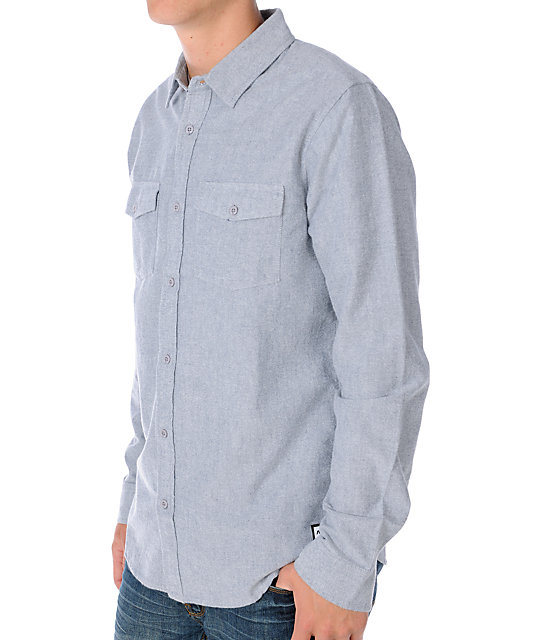 Analog Union Mens Long Sleeve Indigo Blue Woven Shirt