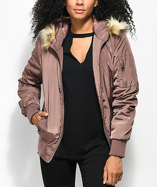 Angel Kiss Dusty Rose Fur Hood Bomber Jacket