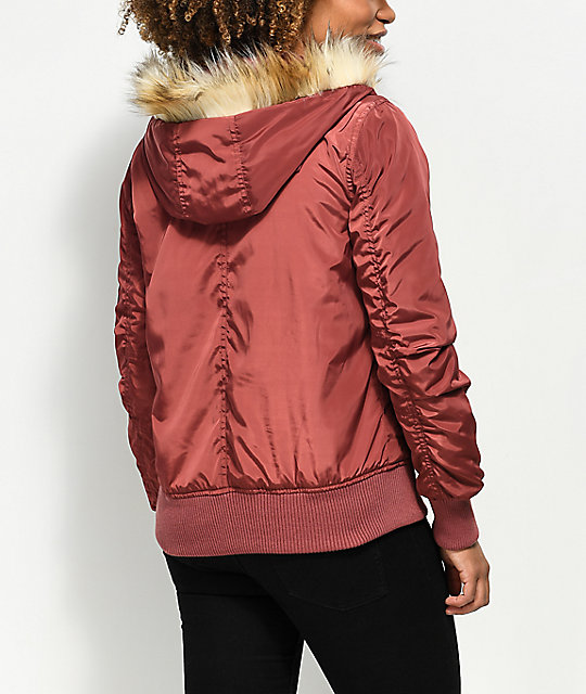 Angel Kiss Nika Red Fur Hooded Bomber Jacket