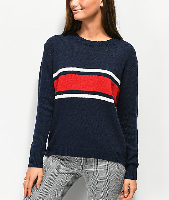 Angel Kiss Red, White, & Blue Stripe Sweater