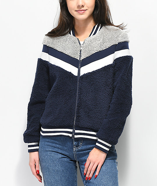 Angel Kiss Sherpa Blue & Grey Stripe Jacket