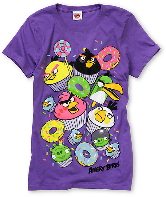 Angry Birds Cupcakes Purple T-Shirt