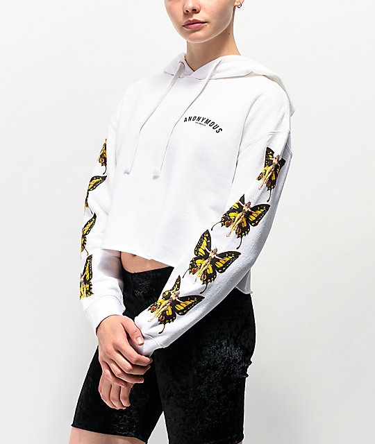 67ca72d47 Shoptagr | Anonymous Butterfly White Crop Hoodie by Anonymous