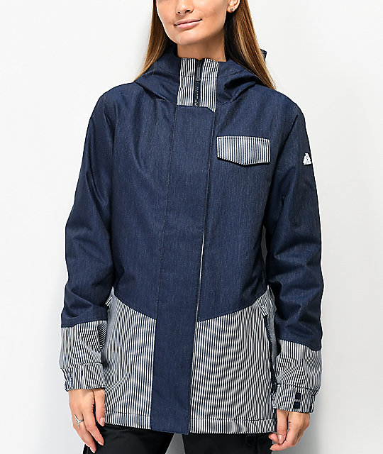 Aperture Capitol Blue Denim Striped 10K Snowboard Jacket