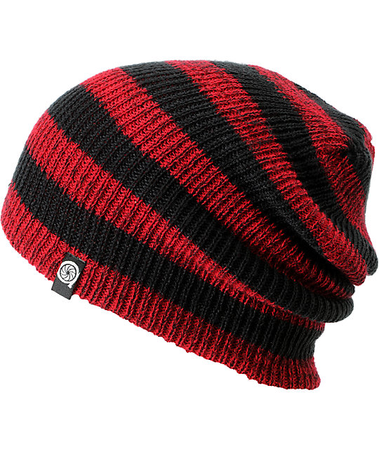 check out afacd 6315f Aperture Estebon Red   Black Stripe Beanie   Zumiez