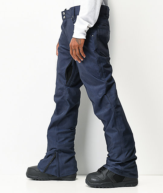 Aperture Green Line Navy Denim 10K Snowboard Pants