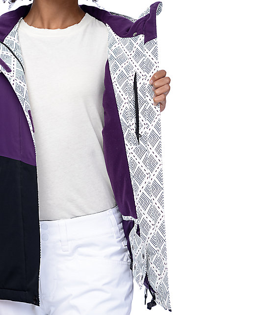 Aperture Pan Face White, Purple & Black 10K Snowboard Jacket