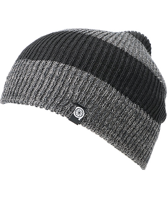 Aperture Punk Black & Heather Stripe Grey Slouch Beanie