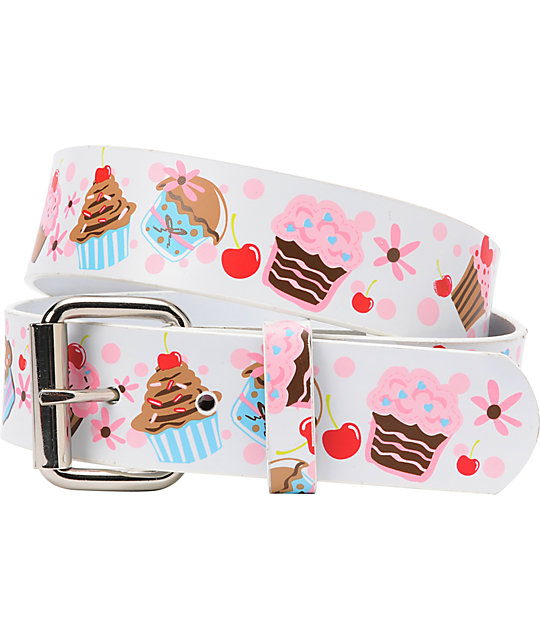 Aquarius Cupcake Graphic Print White Belt