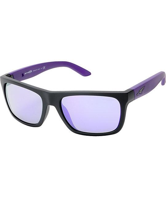 72f0465556a Arnette Dropout Fuzzy Black   Purple Mirror Sunglasses