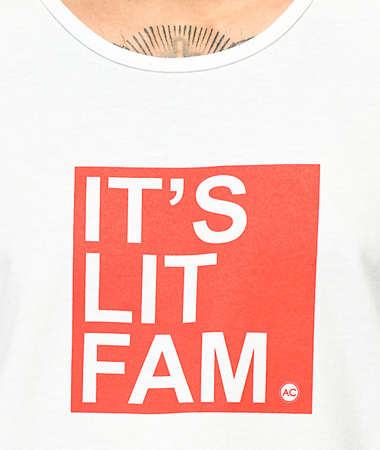 Artist Collective It's Lit Fam White Tank Top