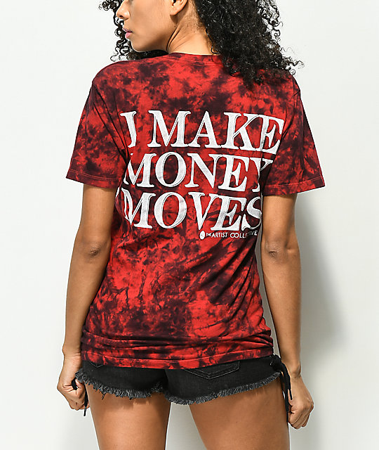 Artist Collective Money Moves camiseta tie dye roja