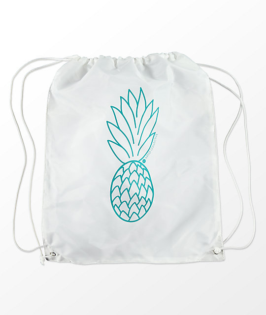 Artist Collective Pineapple White & Turquoise Cinch Bag
