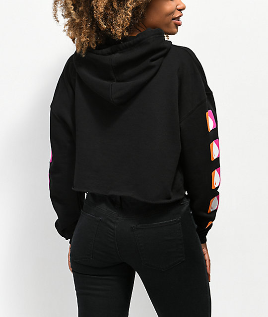 Artist Collective Thru Drippin Black Crop Hoodie