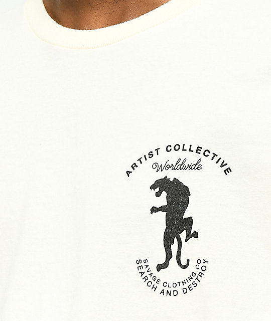 Artist Collective Worldwide Panther camiseta de color crema