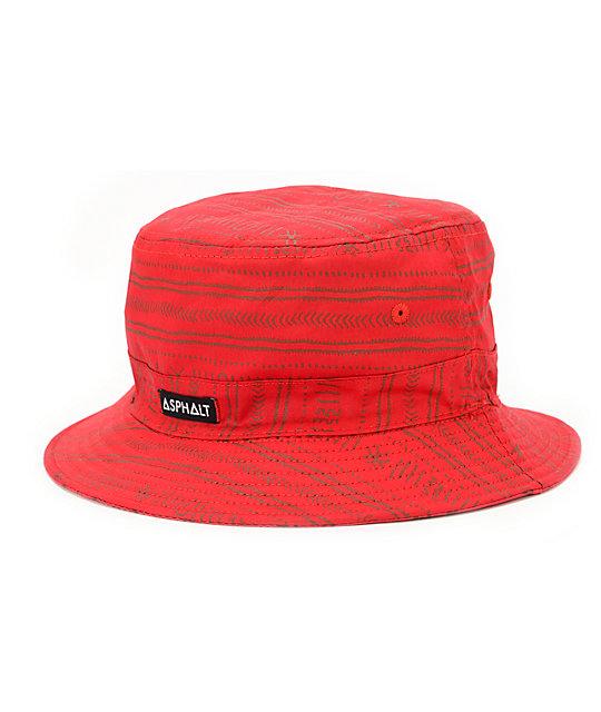15bdc773691 Asphalt Yacht Club Nautical 2 Red Bucket Hat ...