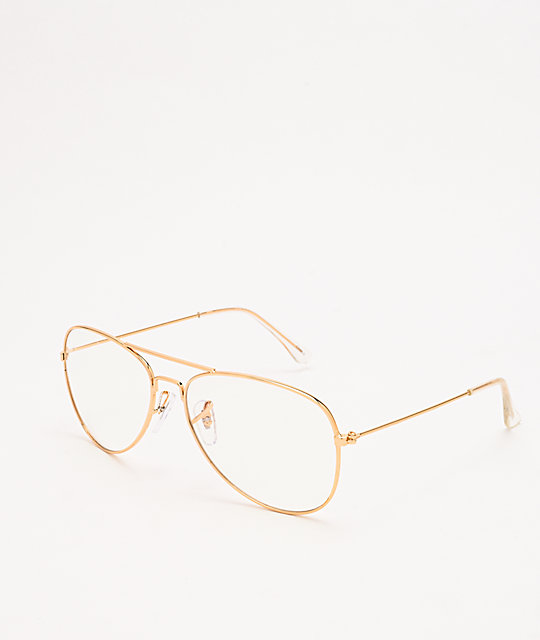 Aviator Gold & Clear Blue Light Glasses