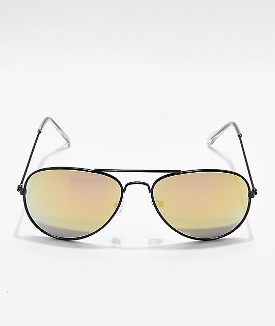 ... Aviator Shiny Black   Gold Mirror Sunglasses 3980981bd6c