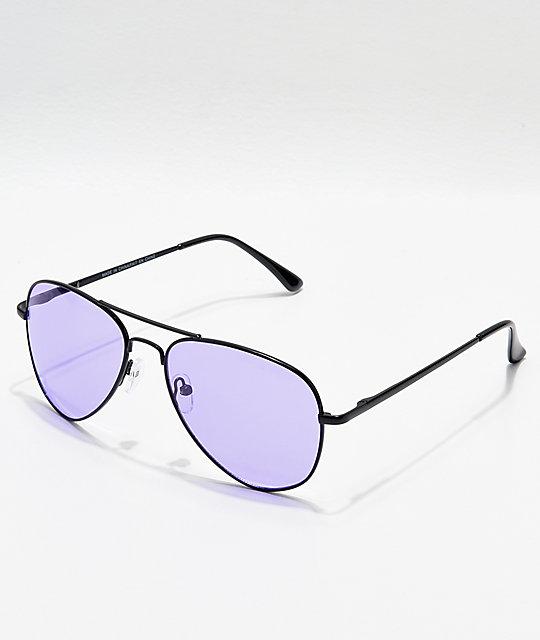 ef883819aa39 Aviator Shiny Black & Purple Sunglasses | Zumiez