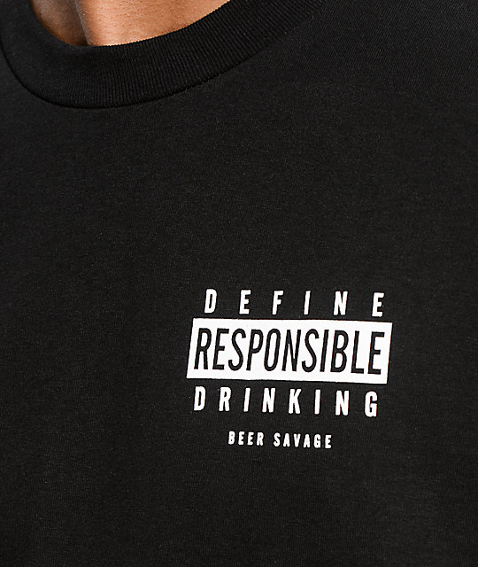 Beer Savage Drink Responsibly Black T-Shirt