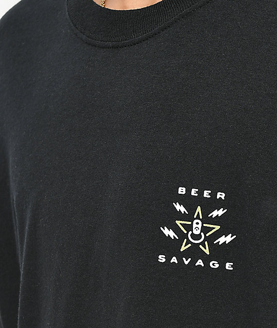 Beer Savage Drinking Unit Black Long Sleeve T-Shirt