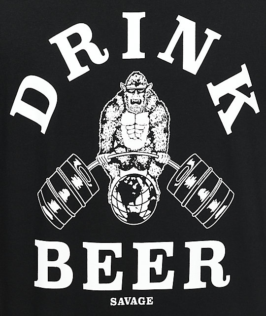 Beer Savage Gym Savage Black T-Shirt