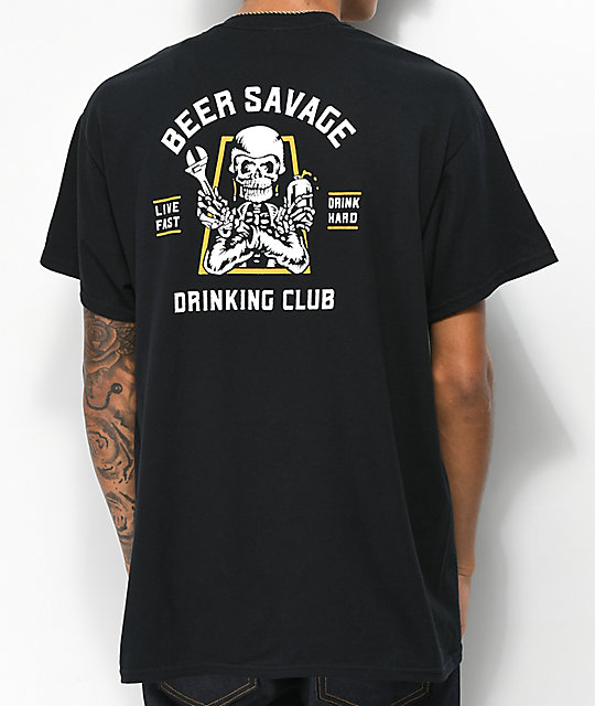 Beer Savage Motor Club camiseta negra