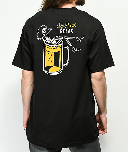 Beer Savage Sip Back Relax Black T-Shirt