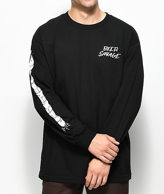Beer Savage Staff Black Long Sleeve T-Shirt