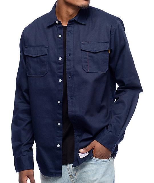 a0160789 Benny Gold Anti-Work Navy Button-Up Shirt | Zumiez