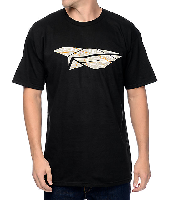 Benny Gold Paper Plane Map Black T-Shirt