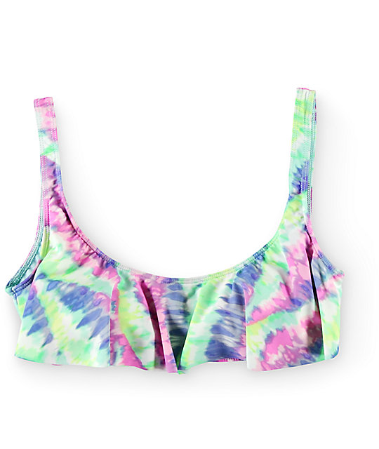 2f0c56ad7b3e48 Bikini Lab Live And Let Tie Dye Flounce Bikini Top
