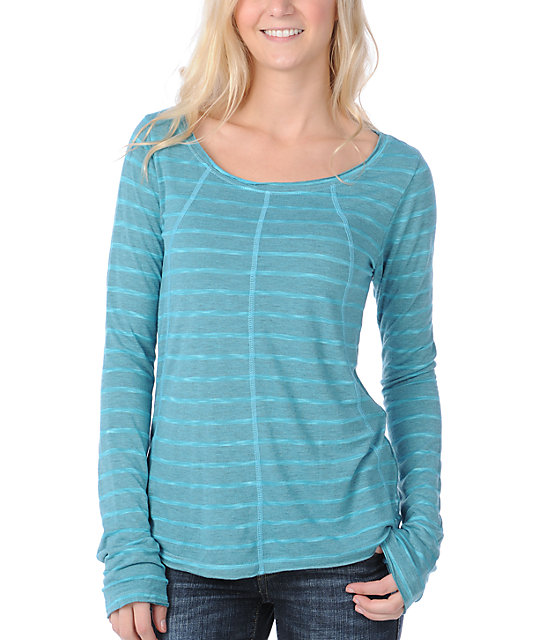 Billabong After Dark Long Sleeve Aqua Stripe Shirt