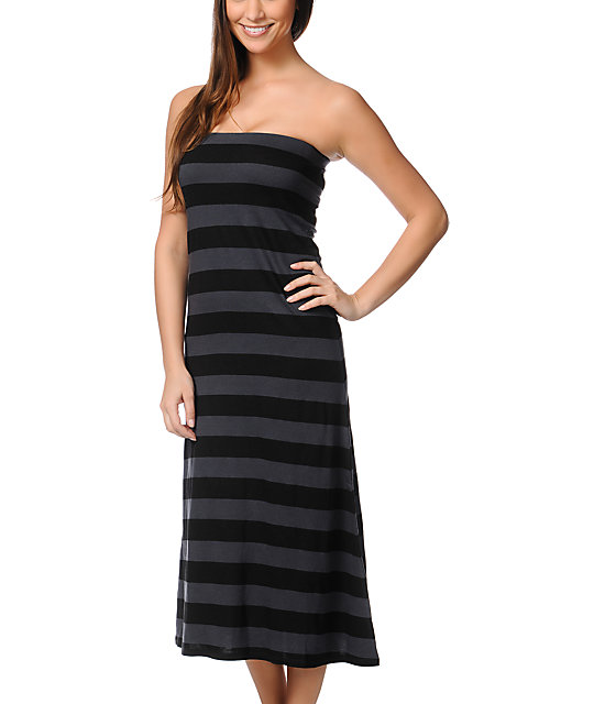 Billabong Anina Black & Grey Stripe Maxi Skirt