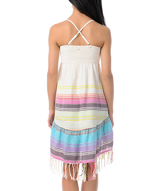 Billabong Away We Go Cream Strapless Dress