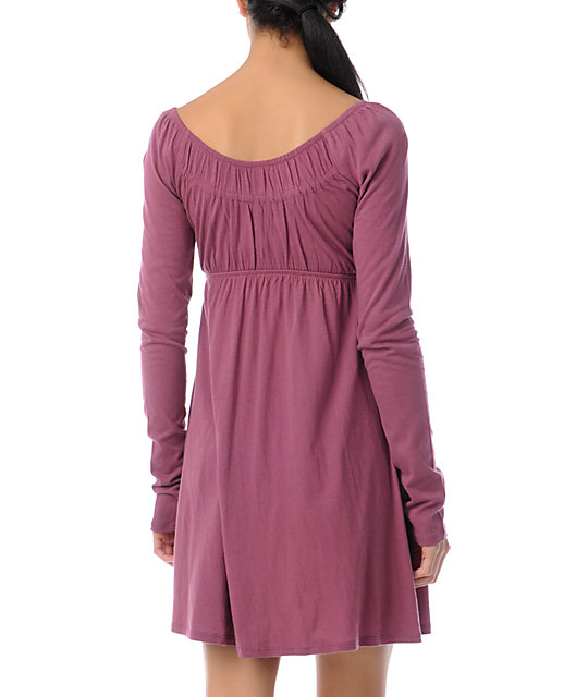 Billabong Benny Crushed Berry Long Sleeve Dress