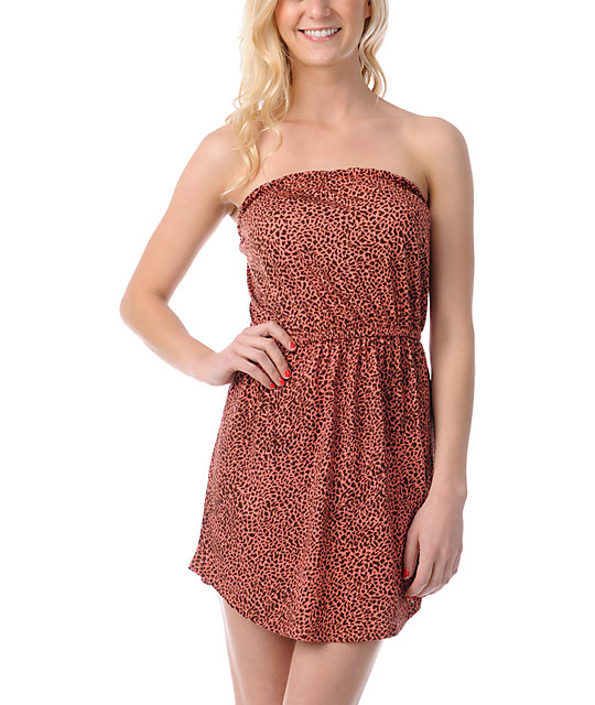 Billabong Count On You Animal Print Strapless Dress
