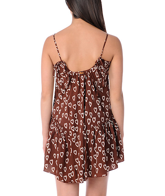 Billabong Croatia Brown Woven Tank Dress