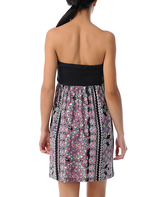 Billabong Crushed On Black & Berry Print Tube Dress