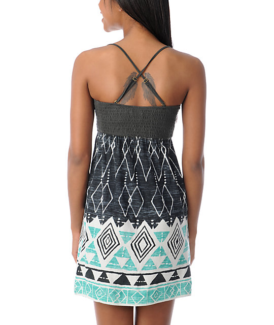 Billabong Dreamin on Grey & Turquoise Dress