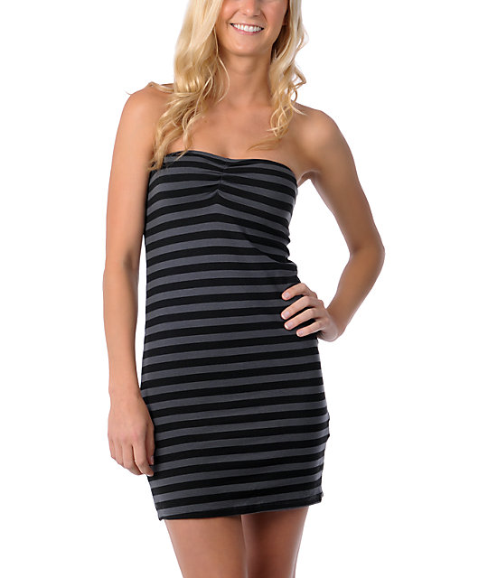 Billabong Essie Black Stripe Body Con Dress